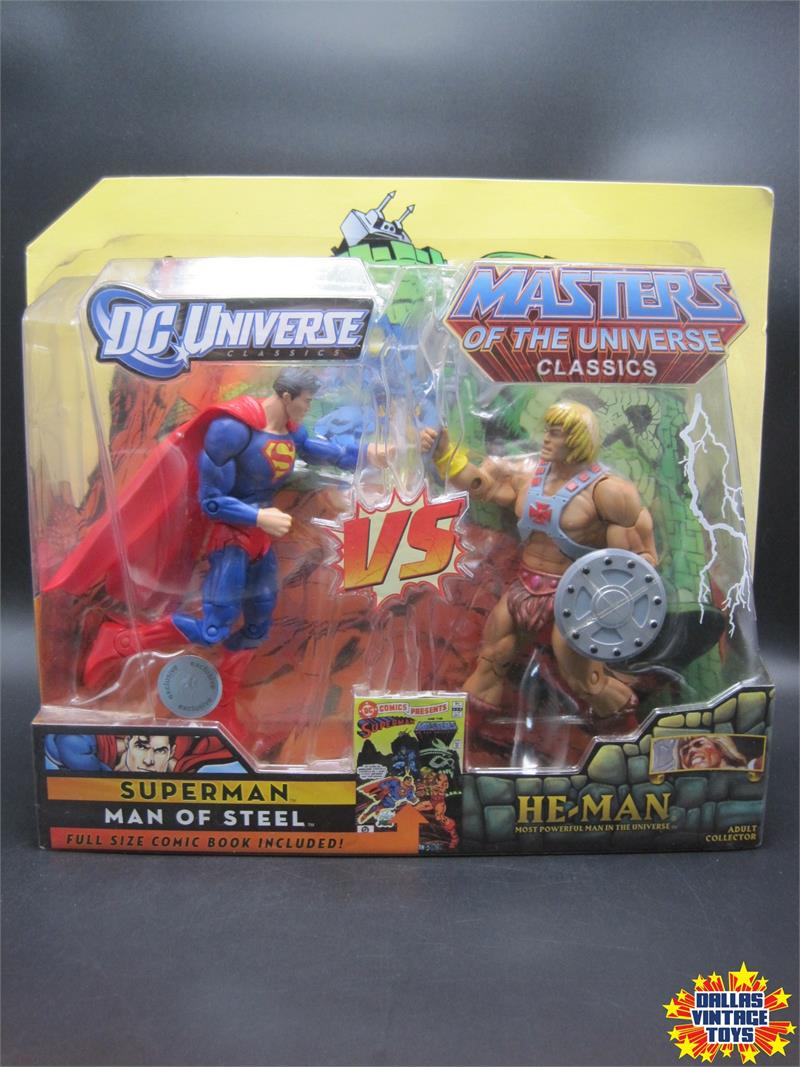 2009 Mattel Tru Exclusive Dc Universe Vs Motu Classics Superman Vs He Man 1a